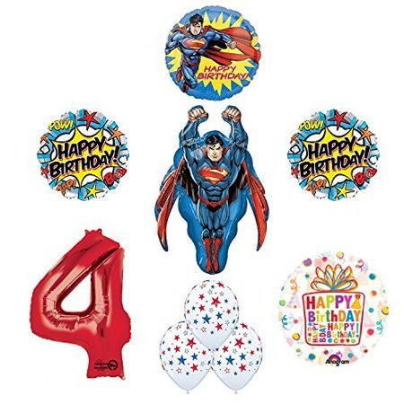 Superman 4th Birthday Party Supplies and Balloon Decorations - Superman Party Decorations