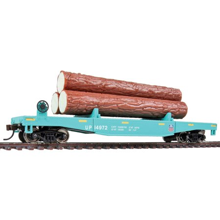 Log Dump Car with 3 Logs - Ready to Run Union Pacific #14972 (MOW Scheme, Green, Yellow Conspicuity Marks), RP-25 metal wheels By Walthers Trainline