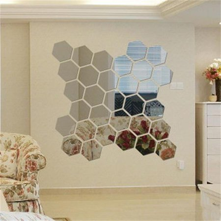 yosoo hexagon mirror 12 pcs geometric hexagon mirror removable