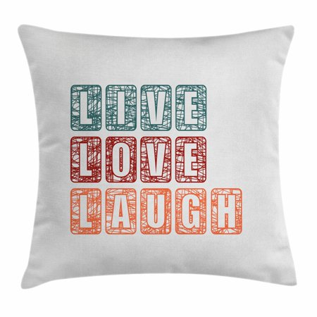 Live Laugh Love Throw Pillow Cushion Cover, Calligraphy Quote Expressing Happiness Abstract Vintage Composition, Decorative Square Accent Pillow Case, 16 X 16 Inches, Teal Ruby Orange, by Ambesonne