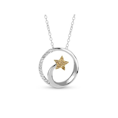 Citrine and Created White Sapphire Sterling Silver Shooting Star Necklace, (Citrine Bezel Necklace)