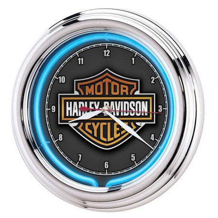 Harley-Davidson Essential Bar & Shield Blue Neon Clock, 12 in Diameter HDL-16675, Harley Davidson
