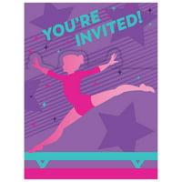 Gymnastics Party Invitations, 24 Count
