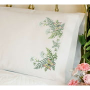 "Dimensions ""Butterflies and Fern"" Pillowcase Pair Stamped Cross Stitch, 20"" x 30"""