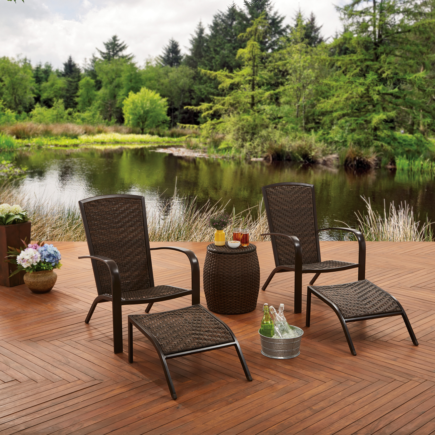 Better Homes & Gardens 5-Piece Wicker Adirondack Chair Chat Set