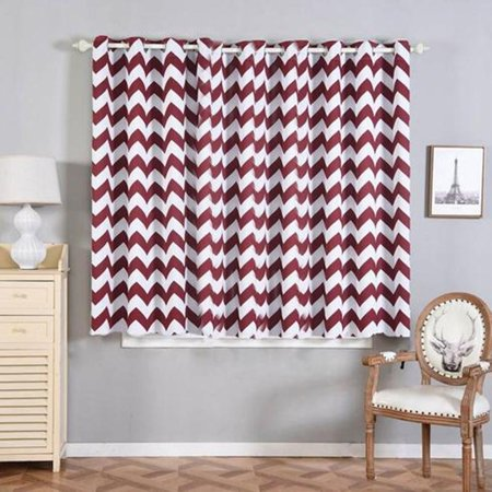 Efavormart 2 Panels Polyester Chevron Design Thermal Insulated Blackout Room Darkening Grommet Top Curtain 52