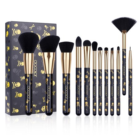 Docolor Goth Makeup Brushes Set, 12 Pcs Skull Printed Face Foundation Blush Contour Eyeliner Eye Shadow Lip Cosmetic Brushes for $<!---->