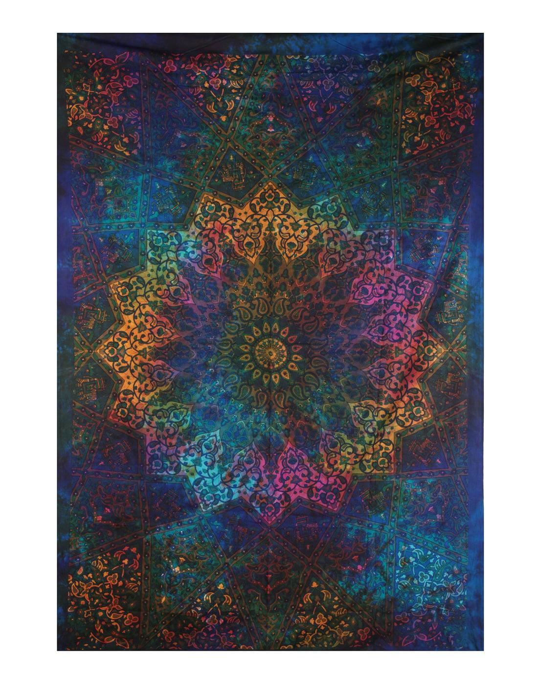 Twin Blue Tie Dye Bohemian Tapestry Hippy Elephant Star Mandala Tapestry Boho Wall Hanging... by Rajrang