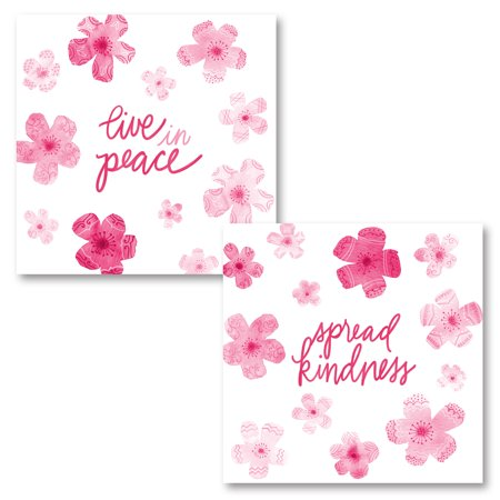 "Pink and White Inspirational ""Spread Kindness"" and ""Live In Peace"" Floral Set by Noonday Designs; Two 12x12in Unframed Paper Posters"