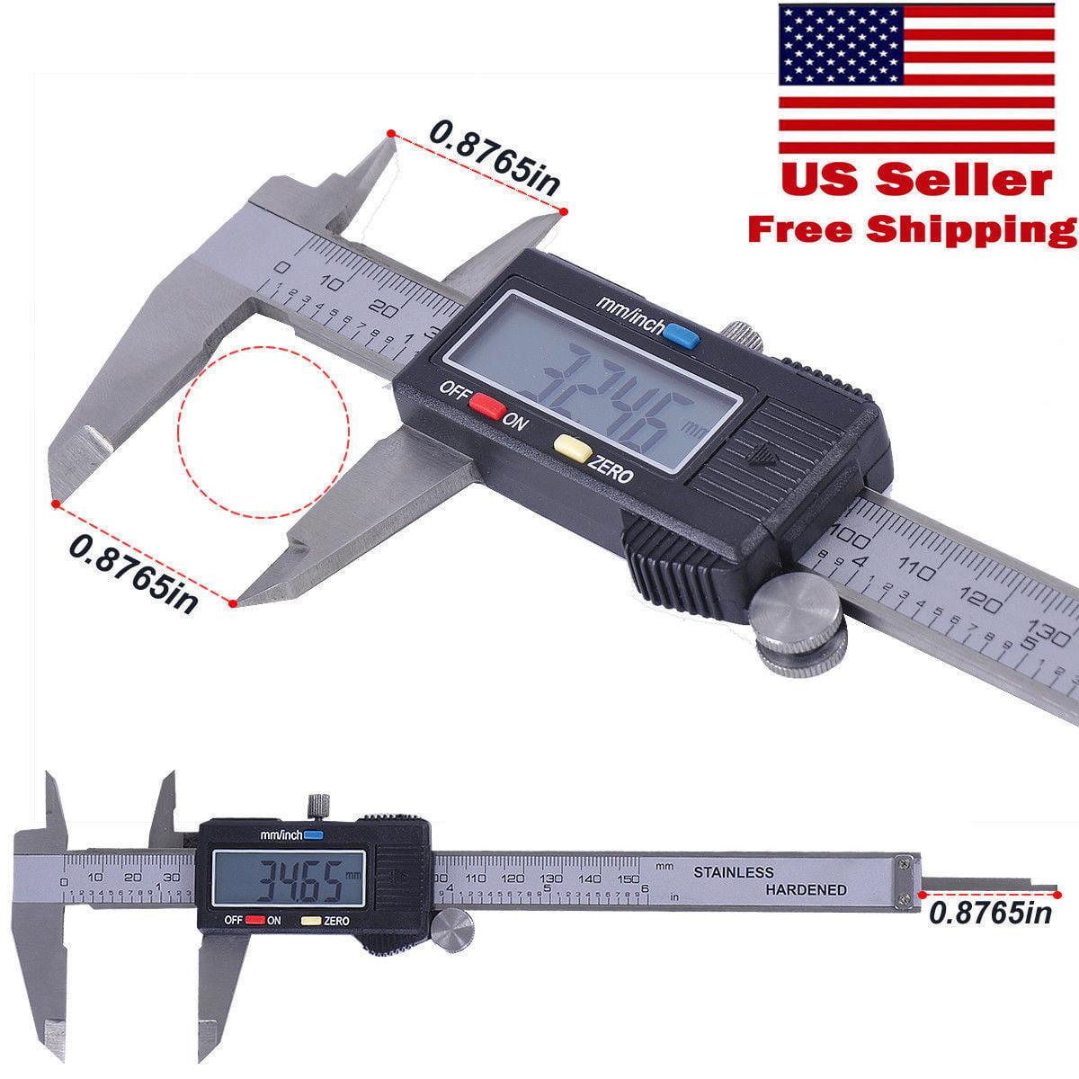 """Digital Electronic Gauge 6"""" Stainless Steel Vernier 150mm LCD Digital Caliper Micrometer"""