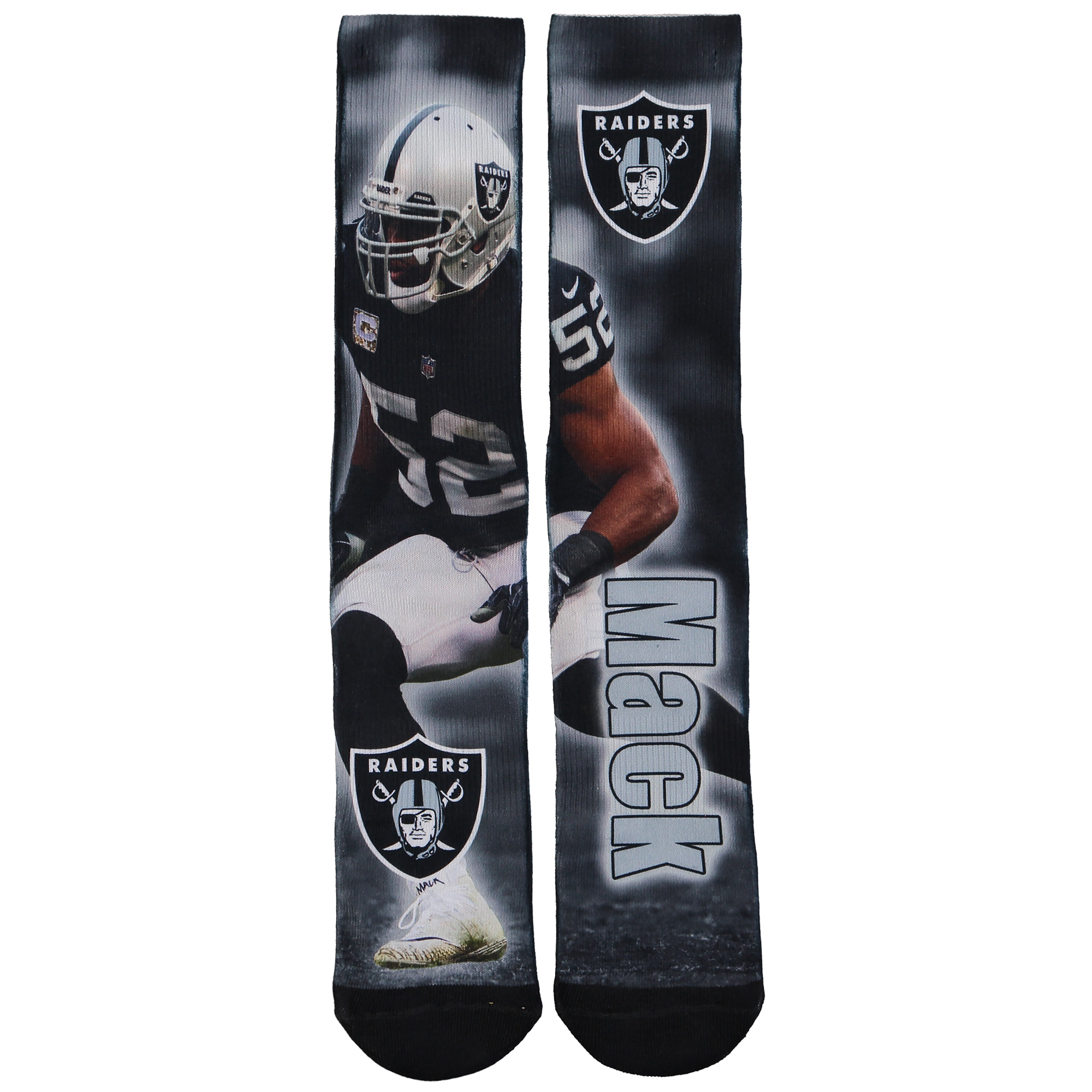 Khalil Mack Oakland Raiders For Bare Feet Player Montage Crew Socks - L