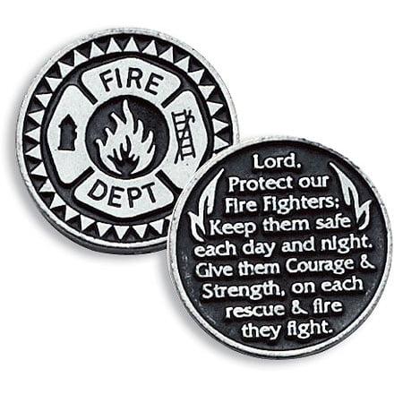 Firefighter Fire Dept Pewter Pocket Good Luck Love Token Coin