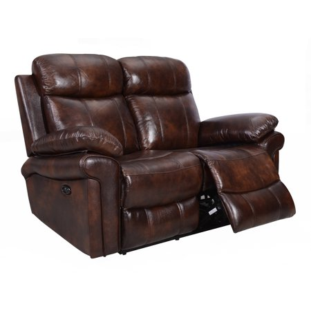 Hudson Power Reclining Top Grain Leather Loveseat 2 Seat Burgundy Leather Theater