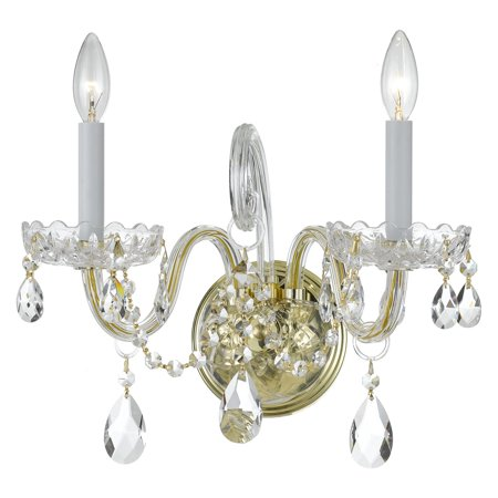 Traditional Crystal Glass Sconce - Crystorama Traditional Crystal 1032-PB-CL Wall Sconce Light