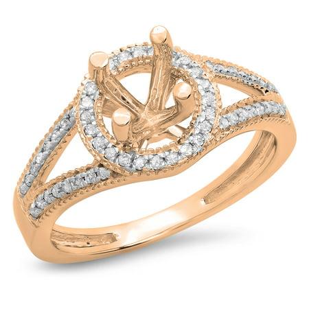 0.20 Carat (ctw) 14K Rose Gold Round White Diamond Ladies Bridal Split Shank Semi Mount Engagement Ring 1/5 CT (No Cente