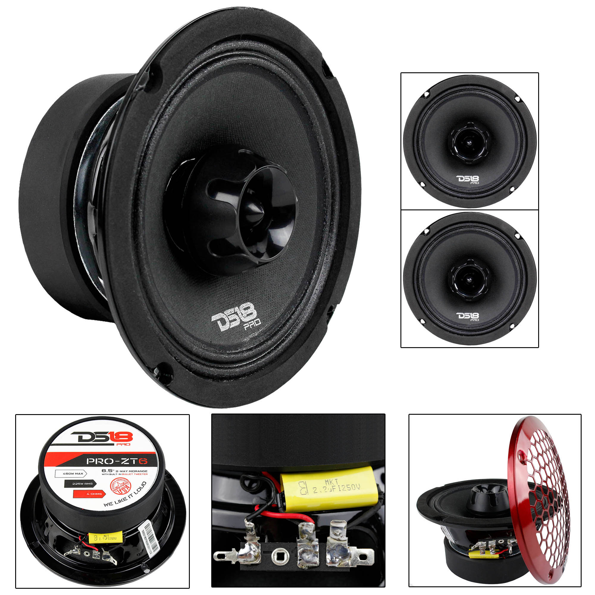 "2 Pack 6.5"" Midrange Speaker Built In Tweeter 450 Watts Max 4 ohm DS18 PRO-ZT6"
