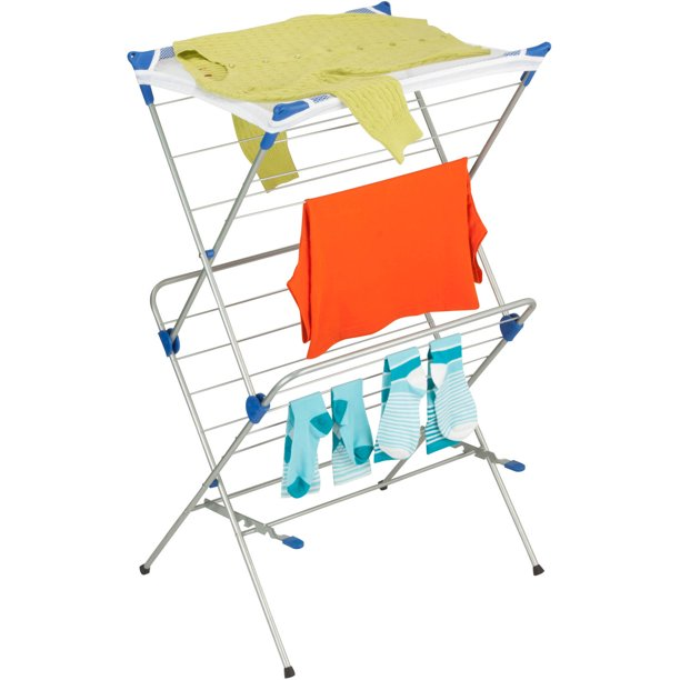 Honey Can Do Steel 2-Tier Mesh Top Drying Rack, Silver/Blue