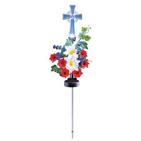 patriotic floral religious cross solar lighted garden stake yard decoration - Religious Christmas Yard Decorations