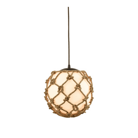 Pendants 1 Light With Oil Rubbed Bronze Finish Opal White Wrapped In Rope Medium Base 11 inch 60 Watts - World of Lamp