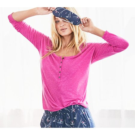 Victorias Secret The Dreamer Long Sleeve Henley Pajama Top (Pink Heather, X-Large)