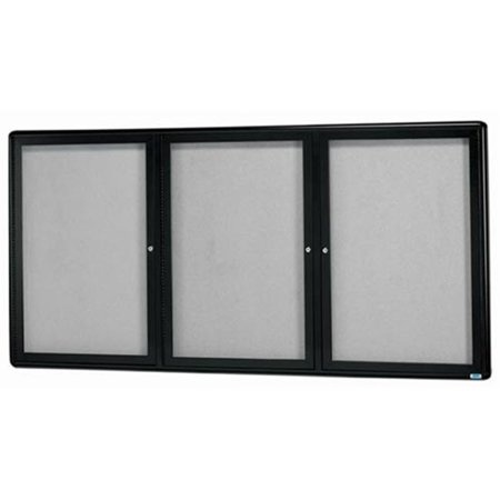 Aarco Products RAB3672BU 36 in. H x 72 in. W 3-Door Sleek Radius Enclosed Bulletin Board - Burgundy