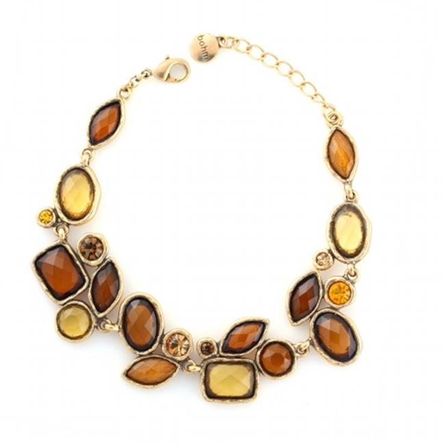 Eshopo 0900000002809 Gold-Tone Metal Yellow And Orange Faceted Stone Drop Bracelets