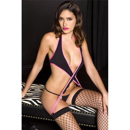 Music Legs 52040-BLACK-PINK Halter Neck Two Tone Wrap with Garter Clips, Black & Pink
