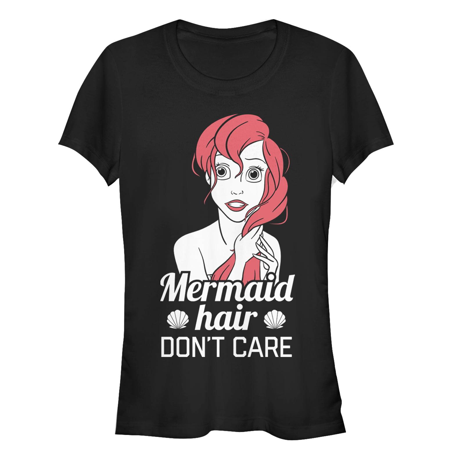 the little mermaid juniors' ariel mermaid don't care t-shirt