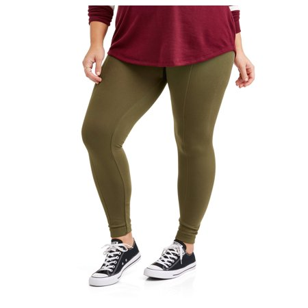 Poof Juniors' Plus Textured Fleece Lined Leggings With Slimming Front Seam