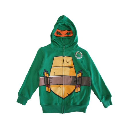 Nickelodeon Little Boys Green Ninja Turtles Full Zip Mask Hooded Top (Green Power Ranger Mask)