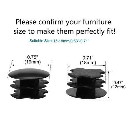 """19mm Tube rond plastique protecteur noir Insert 0.63""""-0.71"""" Dia intérieur 2pcs - image 4 de 7"""
