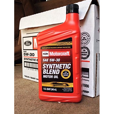 Motorcraft sae 5w30 synthetic blend motor oil 12 quart for What is synthetic motor oil made out of
