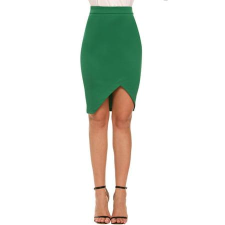 Women Solid Casual Asymmetrical Hem Bodycon Skirt HFON