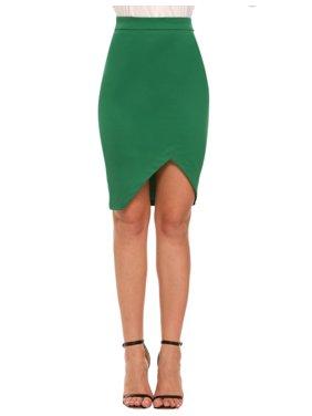 dea039b441 Product Image Women Solid Casual Asymmetrical Hem Bodycon Skirt HFON