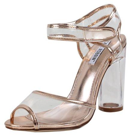 64147b652db Cape Robbin - Cape Robbin Women s Peep Toe Lucite Clear Heel Ankle ...