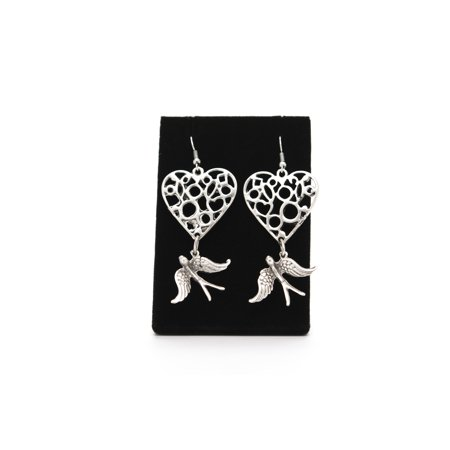 Heart with Bird Antique Silver Plated Earrings with French Style Hooks-BSK131 Antique Style Silver Earrings