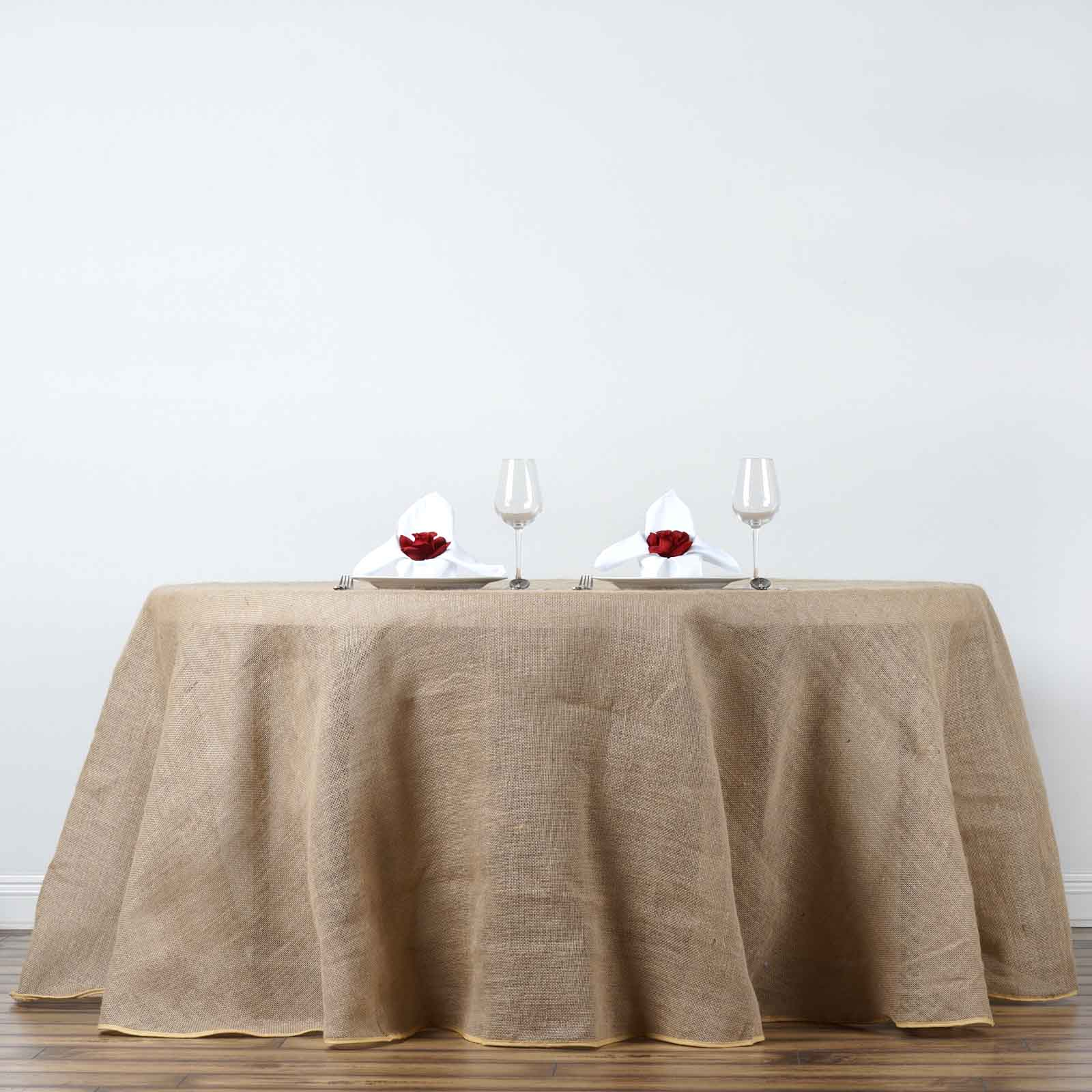 "Dining Room Table Linens: BalsaCircle Natural Brown 120"" Burlap Round Tablecloth"