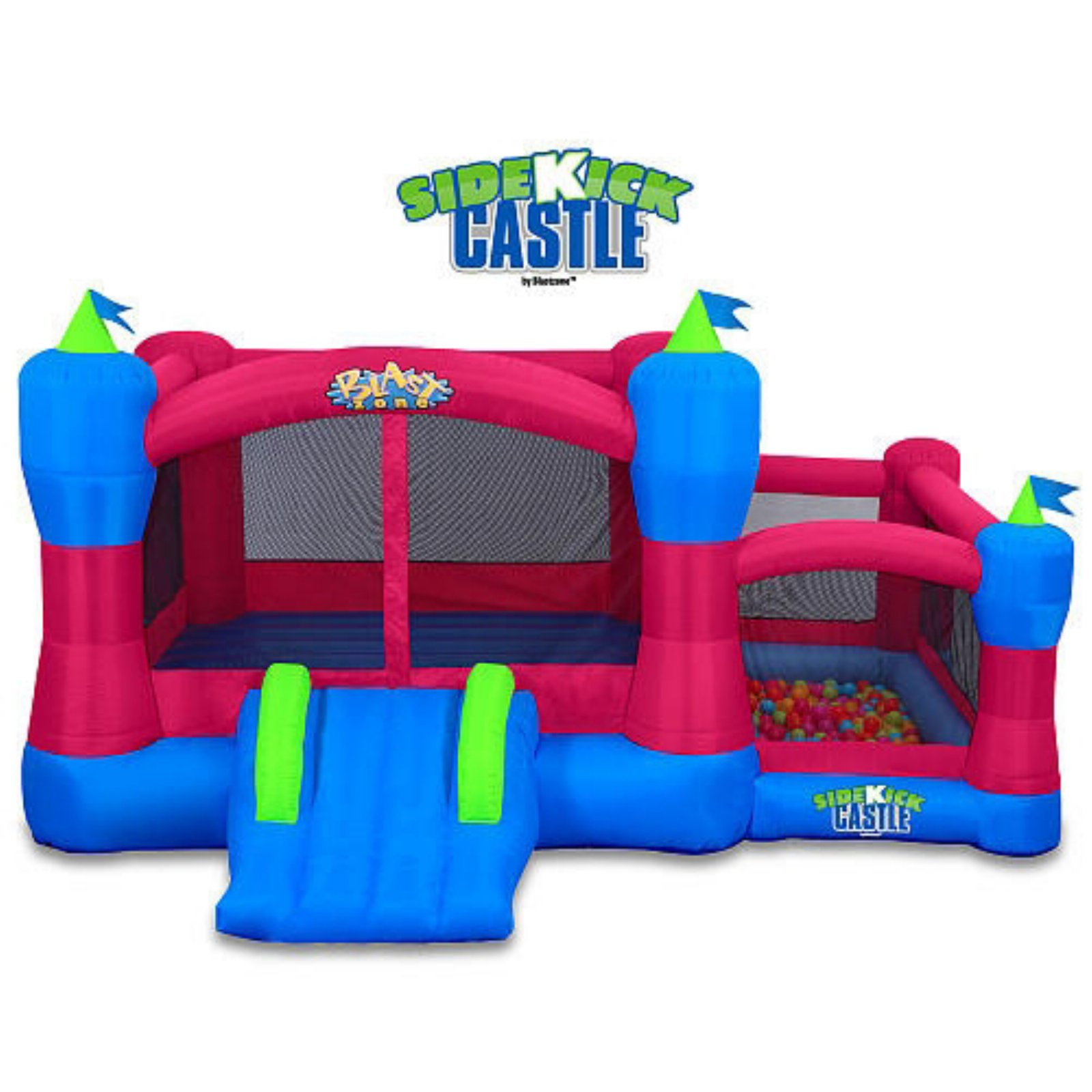 Blast Zone Sidekick Bounce House Ball Pit Slide and Hoop