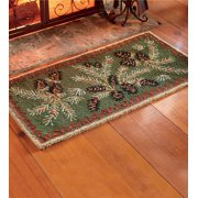 Pine Cone Hooked Wool Hearth Fire Resistant Rug