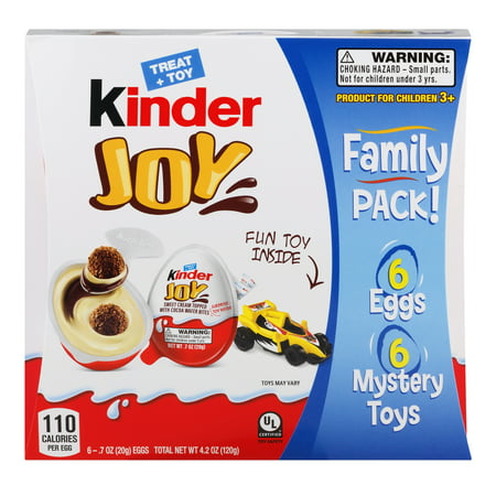 Kinder Joy Sweet Cream Topped with Cocoa Wafer Bites Chocolate Treat + Toy - 6ct