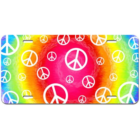 Tie Dye Peace Signs Novelty Metal Vanity License Tag Plate - Tie Dye Peace Sign Tattoos