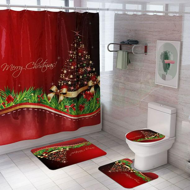Non Slip Waterproof Bathroom Shower Curtain Bath Mat Christmas Carpet Set Bathroom Mat Sets Walmart Com Walmart Com
