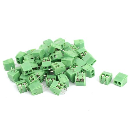 50 Pcs 2 Pin Screw Terminal Block Connector 3 5mm Pitch Panel PCB Mount  Green