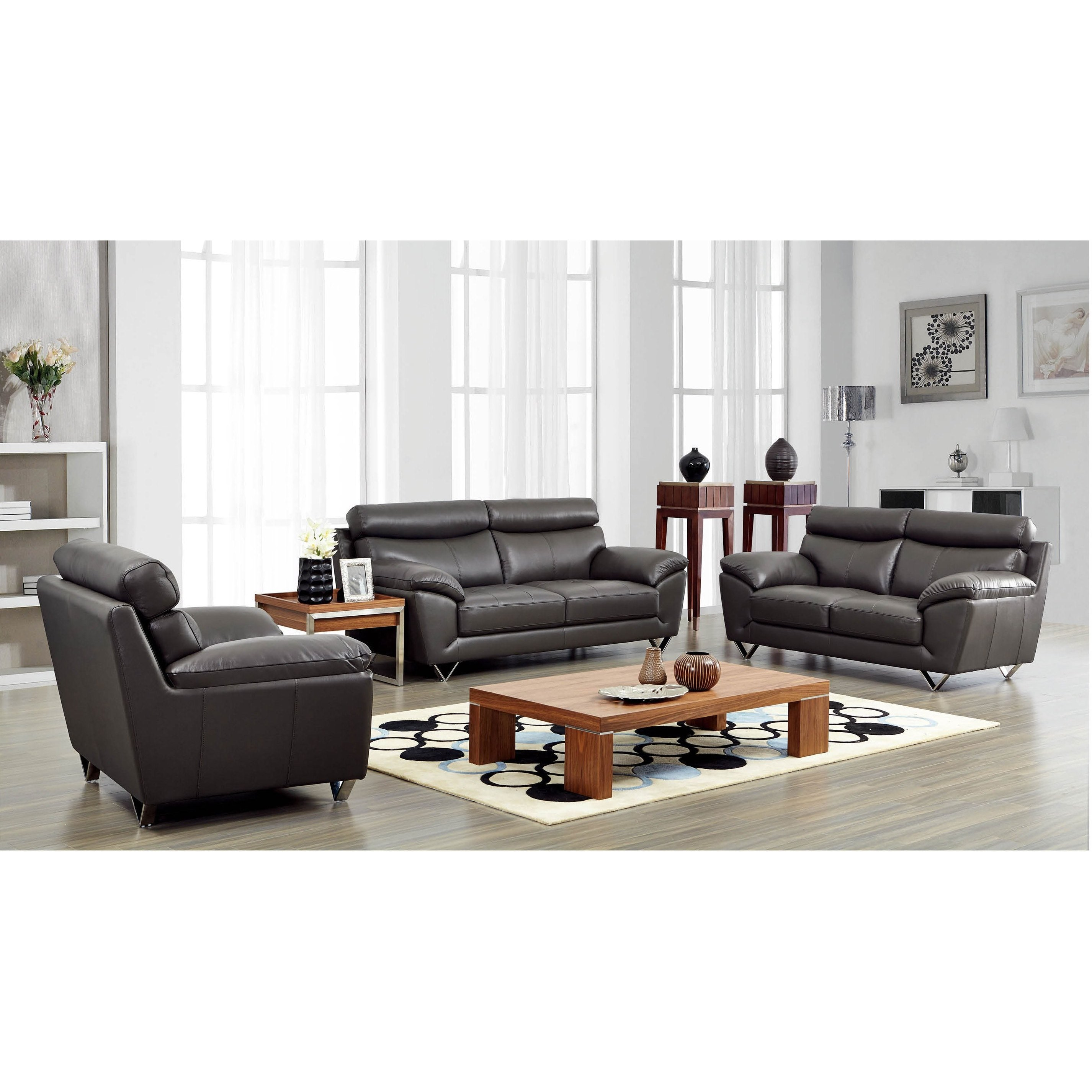 Luca Home  Grey Leather Match Sofa, Loveseat and Chair Set