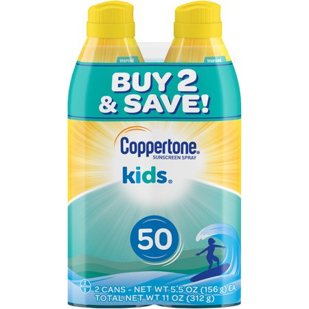 Coppertone Kids Sunscreen Spray SPF 50, Twin Pack (5.5 oz