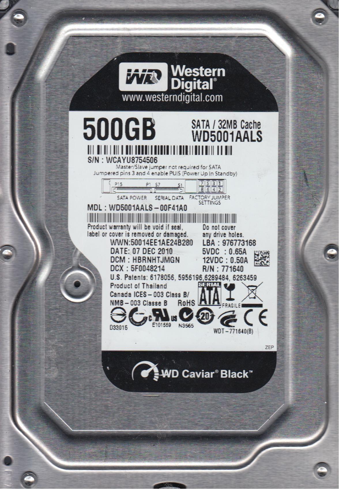 WD5001AALS-00F41A0, DCM HBRNHTJMGN, Western Digital 500GB SATA 3.5 Hard Drive by Western Digital