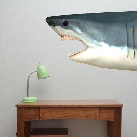 decal the walls shark head fabric wall decal. Black Bedroom Furniture Sets. Home Design Ideas