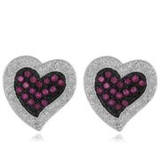 Dolce Giavonna  Sterling Silver Ruby and Diamond Accent Heart Earrings