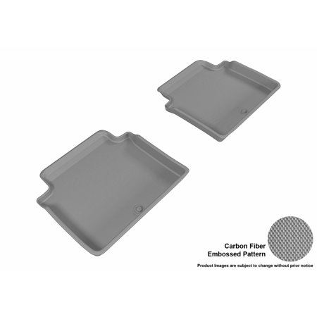 3D MAXpider 2017-2017 Genesis G80 Second Row All Weather Floor Mats in Gray with Carbon Fiber Look