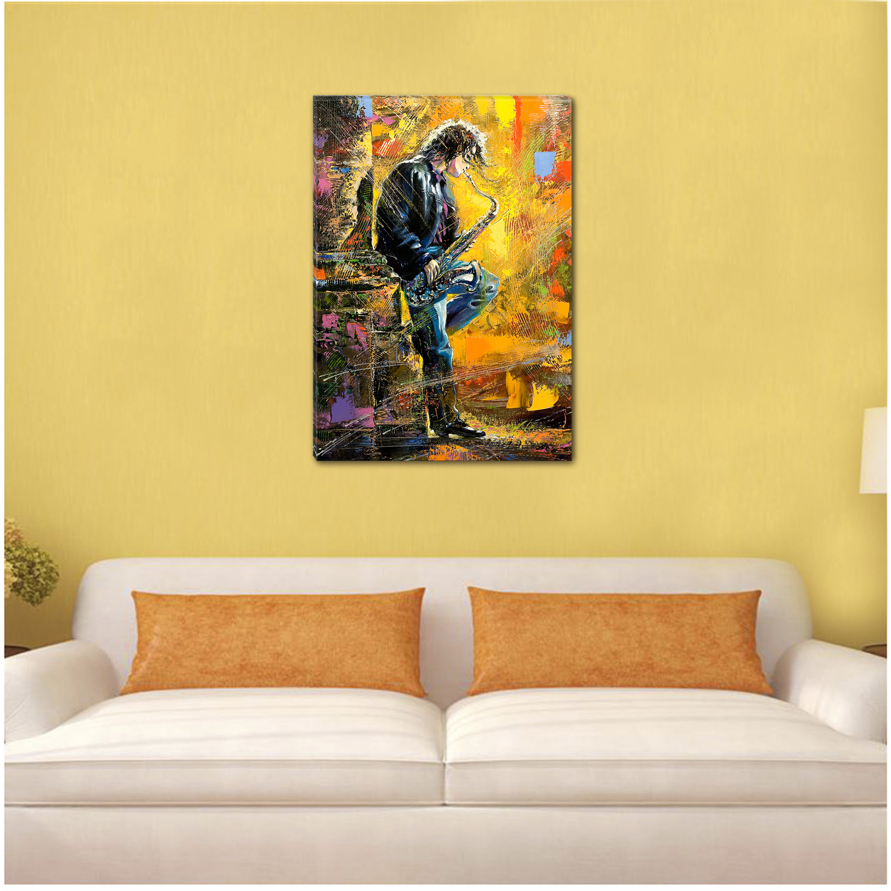 Startonight Canvas Wall Art Man Playing the Saxophone USA Design for ...